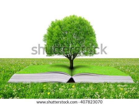 Book of nature with tree on meadow.