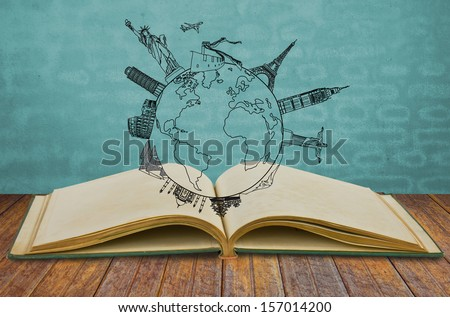 Book of travel (Japan,France,Italy ,New York,India,egypt) - stock photo