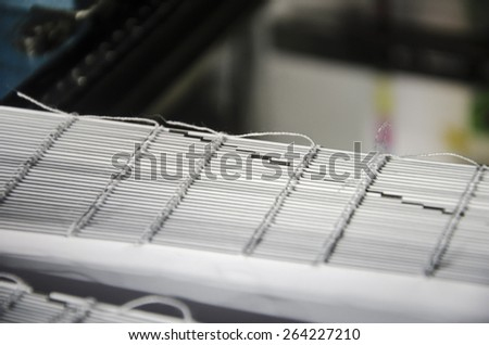 Book offset print production, close up - stock photo