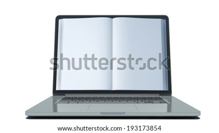 book on the screen of a laptop