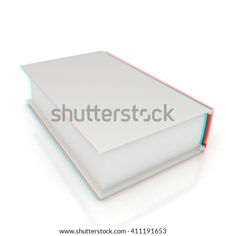 Book on white background . 3D illustration. Anaglyph. View with red/cyan glasses to see in 3D.