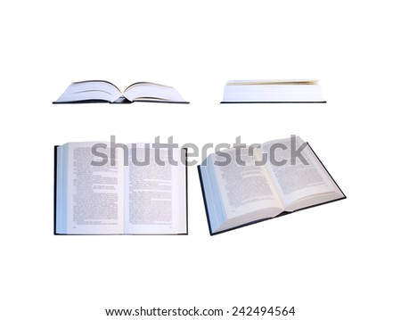 Book on white background (with unfocused text) in different positions (top, front and side face) - stock photo