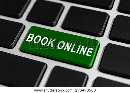 book online green button on keyboard, business concept - stock photo