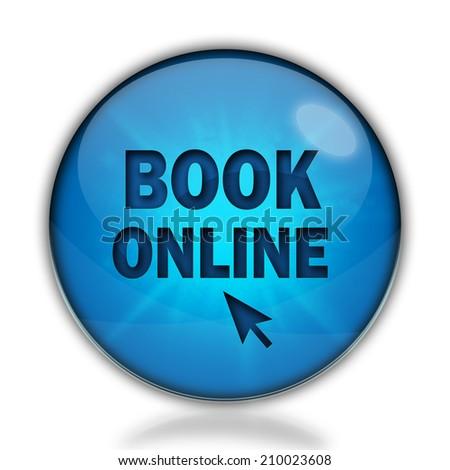 Book online icon. Internet blue button on white background. - stock photo
