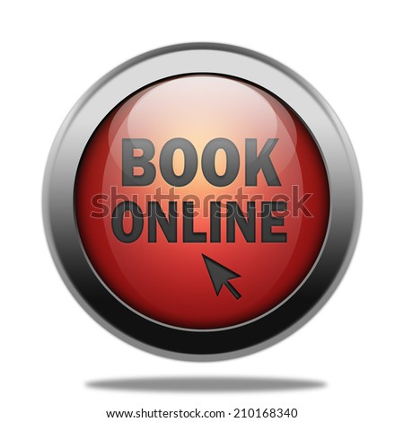 Book online icon. Internet red button on white background. - stock photo