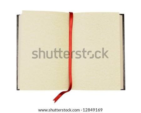 Book : open old blank book with faded yellow parchment pages and ribbon bookmark isolated on white background.  Space for copy. - stock photo