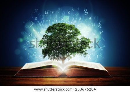 Book or tree of knowledge concept with an oak tree growing from an open book and letters flying from the pages - stock photo