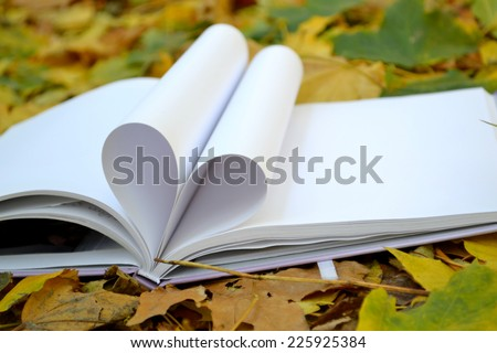 Book pages curved into a shape of heart covered with autumn leaves - stock photo