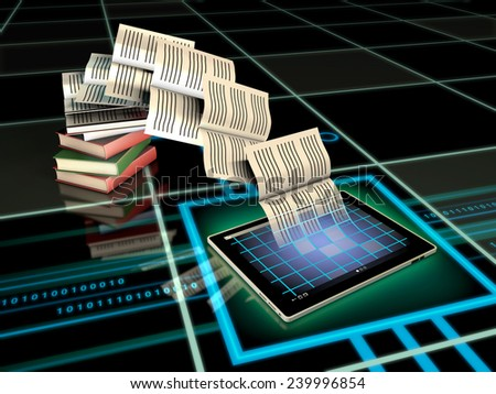 Book pages flying into a tablet computer. Digital illustration. - stock photo