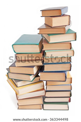 Book pile isolated on white background