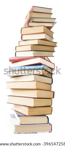Book pile isolated on white background - stock photo