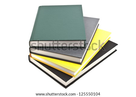 Book Pile Up, Hard Cover Isolated - stock photo