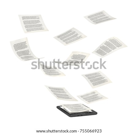 Book reader with flying pages, 3d illustration