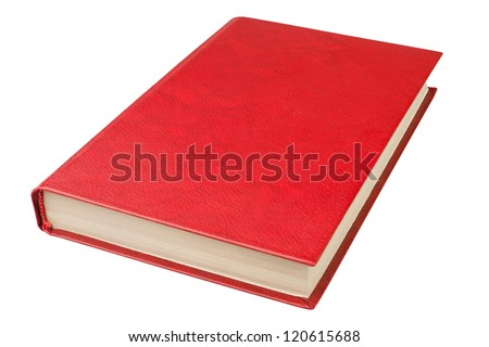 book red on white background - stock photo