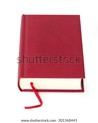 book red on white background with clipping path