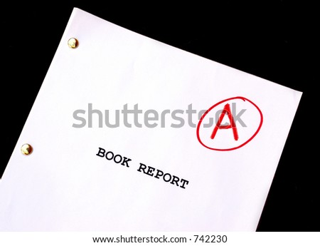 Book Report A against Black Background - stock photo