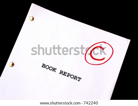 Book Report C on Black Background - stock photo
