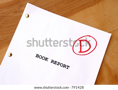 Book Report with a D grade - stock photo