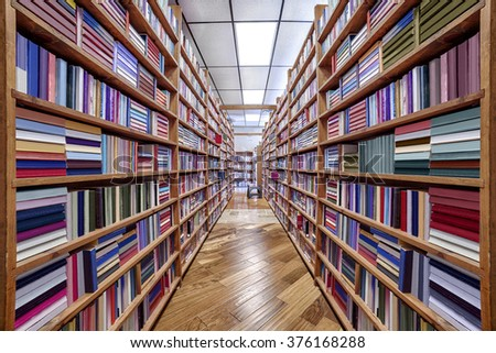 Book Selves in Bookstore With Titles Unreadable