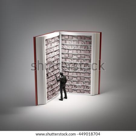 Book shaped bookshelf - 3d illustration - stock photo