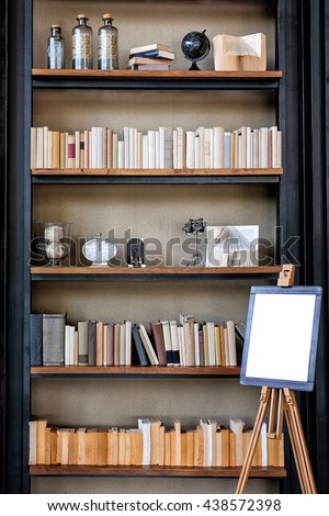 Book shelf wallpaper vintage style and white board for text - stock photo