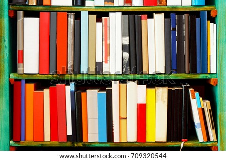 Book shelf with blank empty cover sleeves