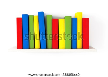 Book shelf with Multicolour books on a white background - stock photo