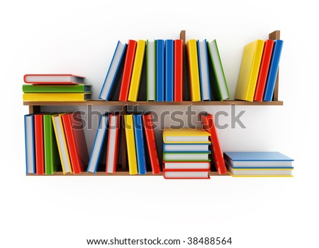 Book shelf with various books on a white background
