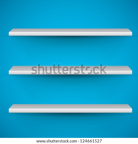 book shelves on blue background - template