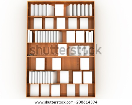 Book shelves with white books. #1 - stock photo