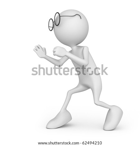 Book soldier. Small unrecognizable people on 3D high quality render. Image isolated on white