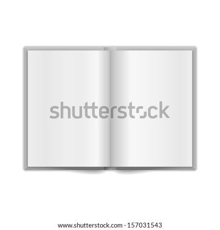 Book Spread With Blank White Pages. Raster version