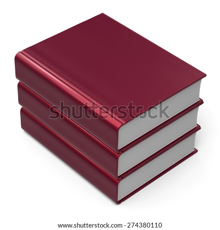 Book stack blank cover red 3 three. School learning information knowledge content archive icon concept. 3d render isolated on white background - stock photo