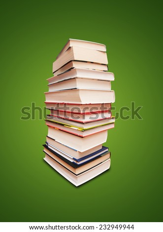 book stack isolated on red background