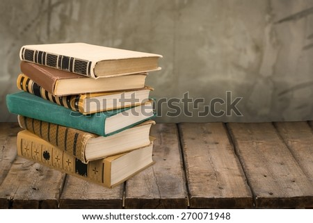 Book. Stack of Old books isolated on white - stock photo