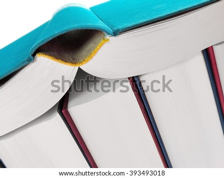 Book stack, studio shot.      - stock photo