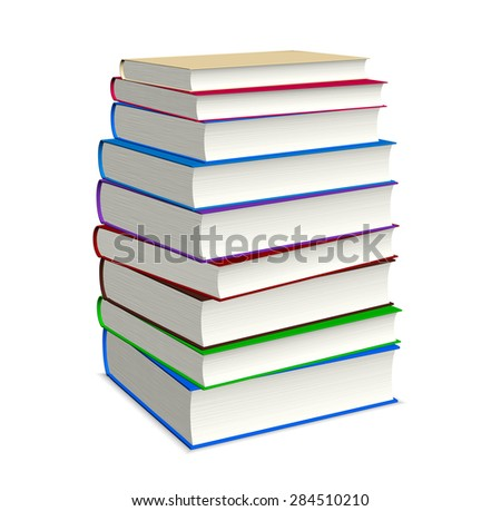 Book stacked on white background with clipping path, illustration