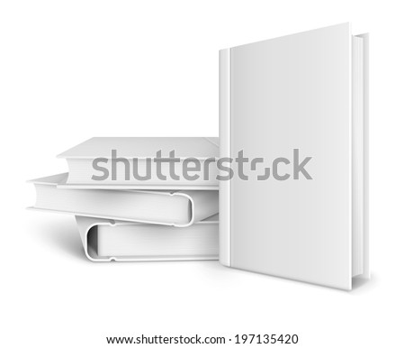 book template with blank cover and pile of books. Rasterized illustration. - stock photo