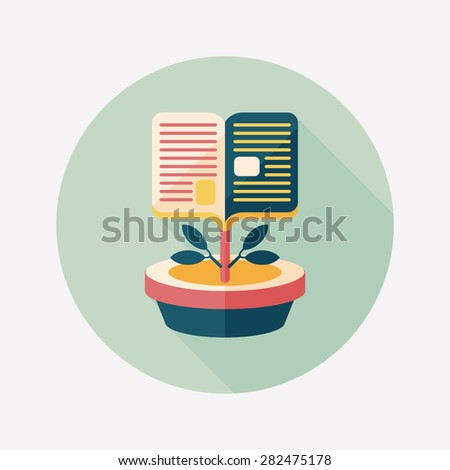 book tree flat icon with long shadow,eps10 - stock photo