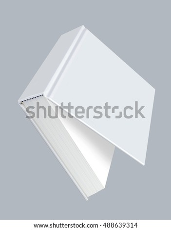 Book, white blank book with hard ajar cover
