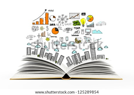 book with colorized drawing city - stock photo