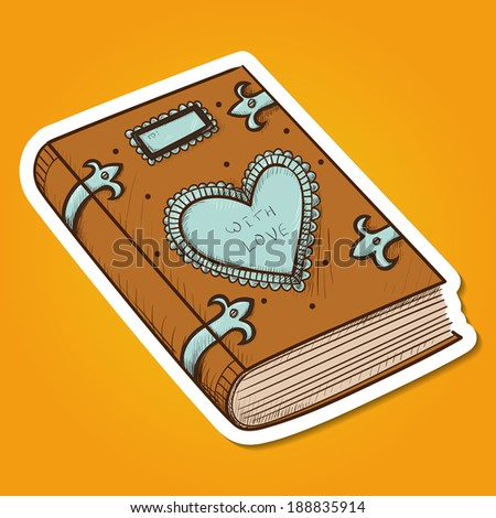Book with decorative heart. Paper sticker imitation. Romantic tender design - stock photo