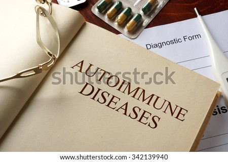 Book with diagnosis autoimmune diseases. Medic concept. - stock photo