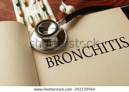 Book with diagnosis bronchitis. Medic concept. - stock photo