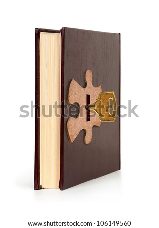 book with key in lock, Book concept - stock photo