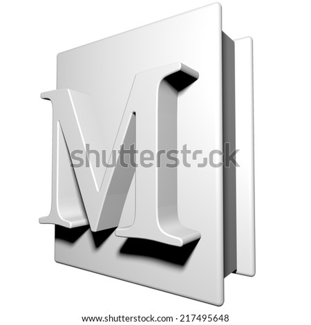 Book with letter M on the cover, 3d render