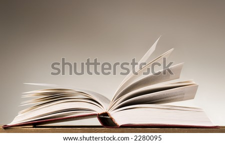 Book with pages spreaded on both sides
