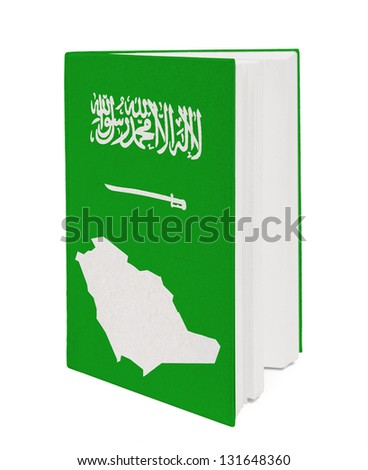 Book with the national flag and contour of Saudi Arabi