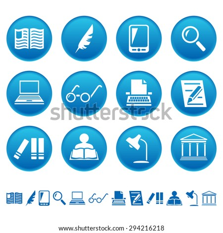 Book writing and reading icons - stock photo