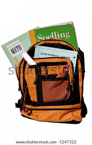 bookbag full of books and other supplies for school - stock photo